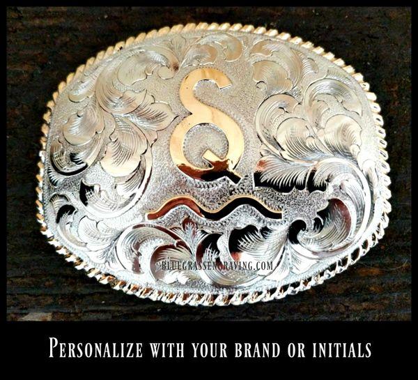 Custom Nickel Belt Buckle with Initials or Brand