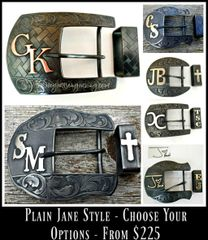 Plain Jane Western Ranger Belt Buckle, 2 or 3-Piece Set