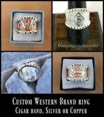 Cattle Brand Ring, Western Copper and Silver Ring