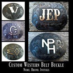 Custom Men's Western Belt Buckle, Personalized