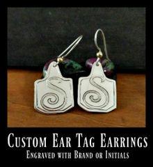 Ear Tag Earrings, Livestock Tag Earrings, personalized