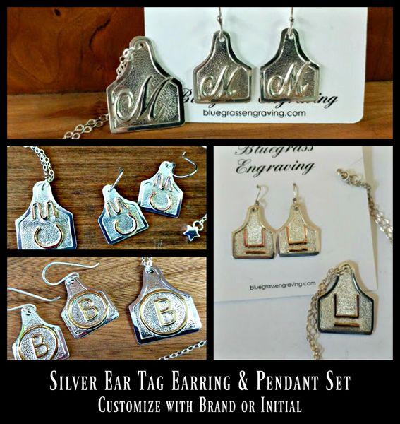Custom Livestock Brand Earrings and Pendant Set