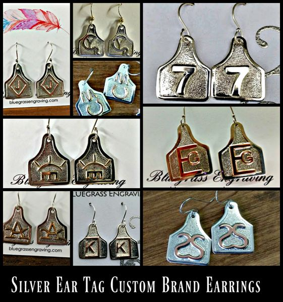 Custom Ear Tag Cattle Brand Earrings