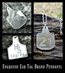 Ear Tag Pendant, Cattle Brand Necklace Customized with Your Brand