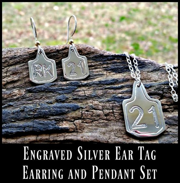 Engraved Cattle Brand Ear Tag Earrings and Necklace Set, customized