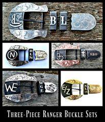 Mens Custom Ranger Belt Buckle Set, Western 3-Piece Ranger Buckle Set