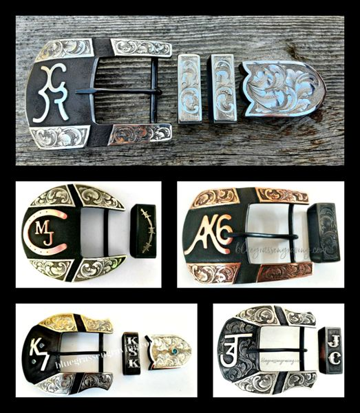 Segmented Western Ranger Belt Buckle, 2 or 3-Piece Set