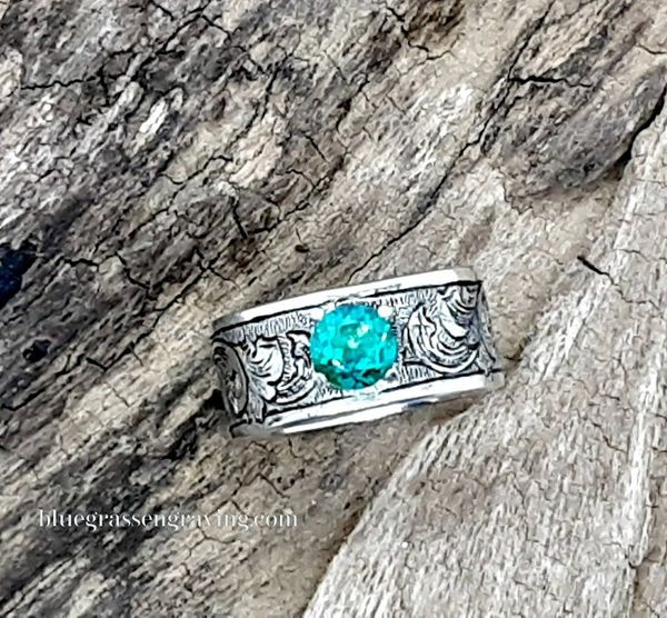 Engraved Silver Band with Green Topaz Stone, Size 8.25
