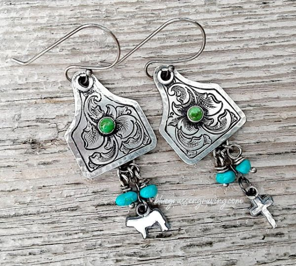 Silver Engraved Ear Tag Earrings