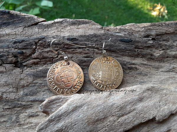 Phillip II Escudo Reproduction Coin Earrings