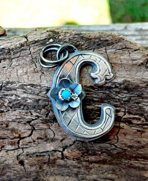 Silver Fancy Initial Pendants, Letters A - J