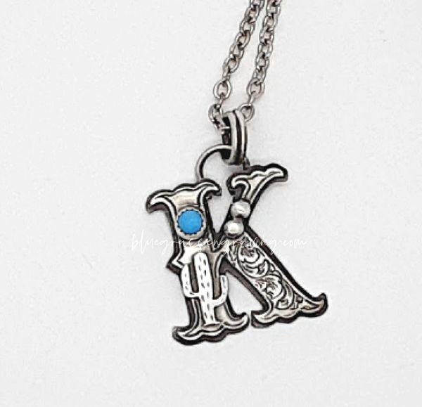 Silver Fancy Initial Pendants, Letters K - T
