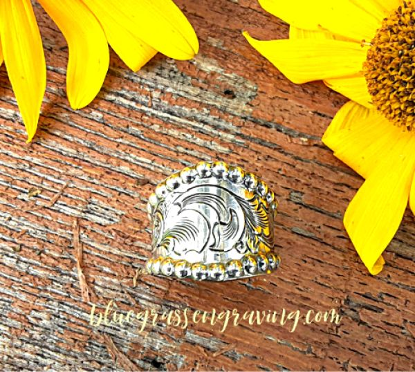Cigar Band Silver Ring, Engraved