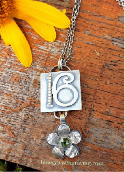 Number 16 Silver Necklace and Flower Charm