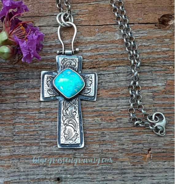 Silver Engraved Cross with Turquoise