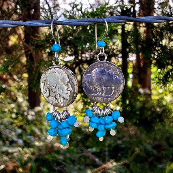 Buffalo Nickel Drop Earrings