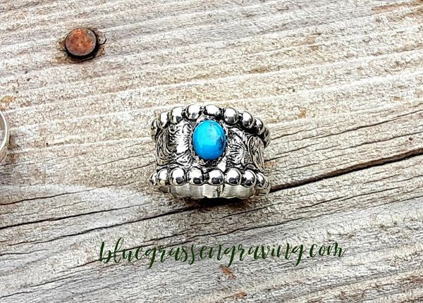 Brianna Cigar Band Ring with Turquoise, Engraved