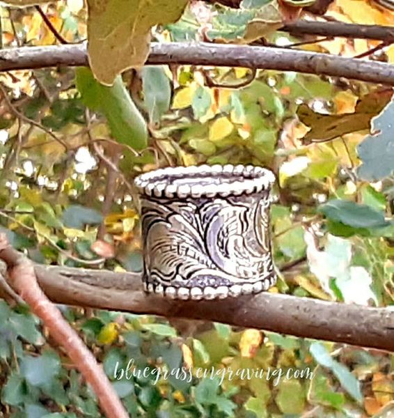 Kaylee Wide Silver Band, Engraved