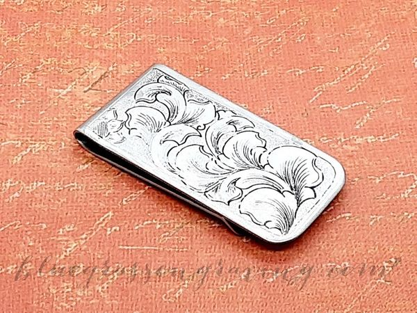 Money Clip, Nickel, Hand Engraved