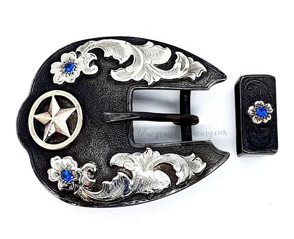 "The Ashland 5/8"" Dress Buckle Set with Blue Stones"