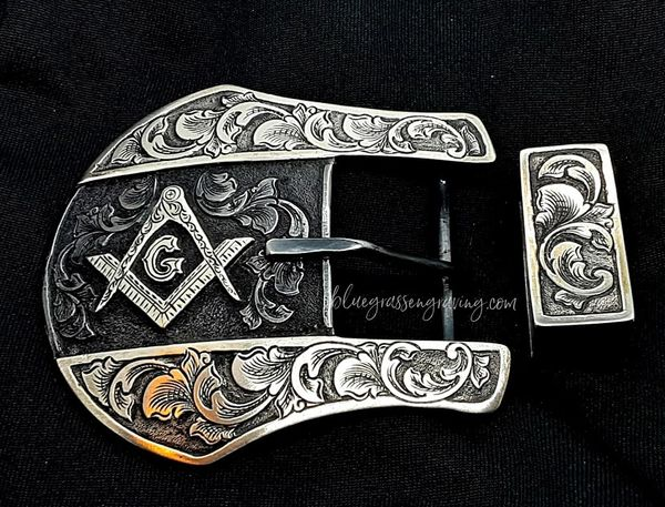 """The Liberty, Two-Piece Ranger Buckle Set, Masonic Square and Compass, for 1.25"""" Width Belt"""