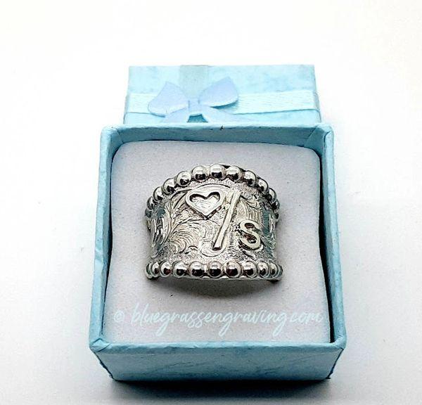 Cigar Band Brand Ring, Engraved Scrollwork