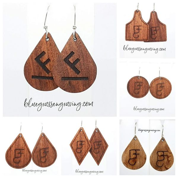 Wood Brand or Initial Earrings, Custom