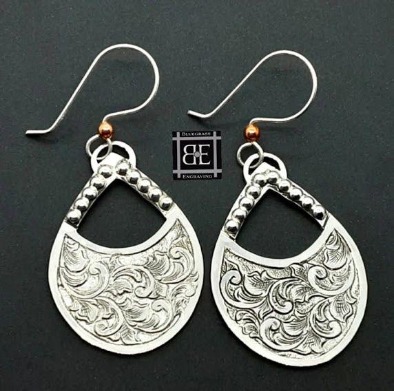 Silver Teardrop Scrollwork Earrings