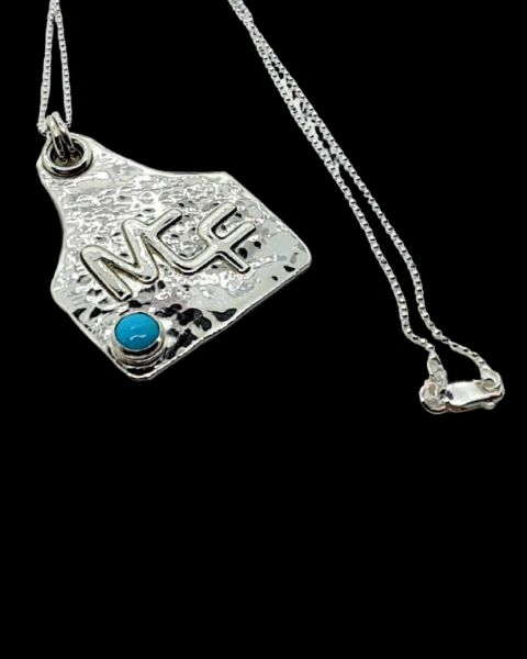 Silver Ear Tag Pendant, Hammered, Turquoise, Your Brand