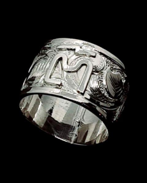 Engraved Silver Band, Custom Brand Ring