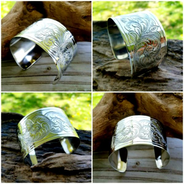 Engraved Western Style Sterling Silver Cuff Bracelet
