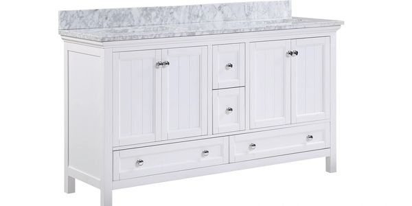 "AURAFINA Plantation White 60"" Cunningham Bathroom Vanity"