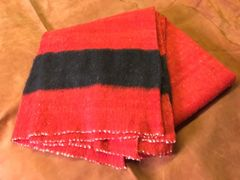 Blanket- Hand Woven, 100% Wool, Red