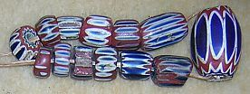 Antique Glass Chevron Beads