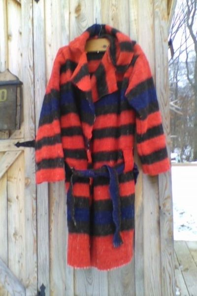 Capote Red with Blue and Black Stripes