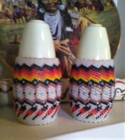 Paiute Indian Beaded Salt and Pepper Shaker Set