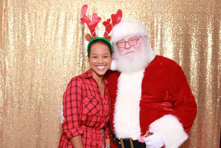 Holiday party photobooth christmas party photobooth Holiday party rental Gold backdrop
