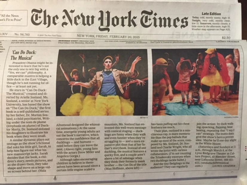 The New York Times Article 'Can Do Duck: The Musical'