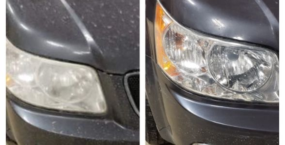 Headlight restoration before and after