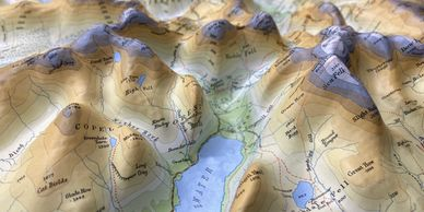 3d map model of the Lake District Mountains