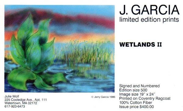 Jerry Garcia - Wetlands II - postcard