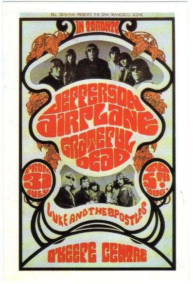 Grateful Dead and Jefferson Airplane BG-74 postcard