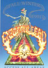Grateful Dead backstage pass - Flaming Skull postcard