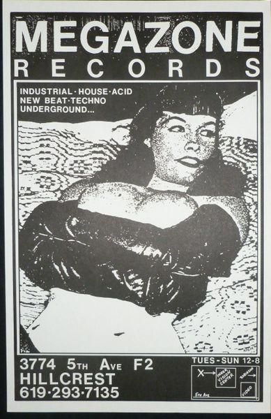 Megazone Records poster - Frank Kozik 1990