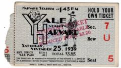 Yale Harvard 1939 ticket stub
