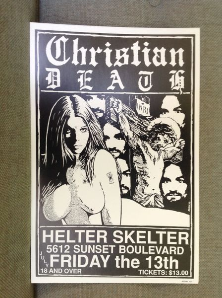Christian Death poster signed by Frank Kozik 1990