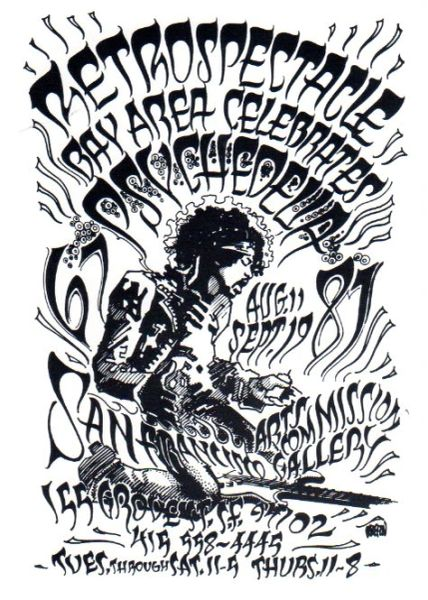 Retrospectacle - Jimi Hendrix (PC) (black & white) by Rick Griffin
