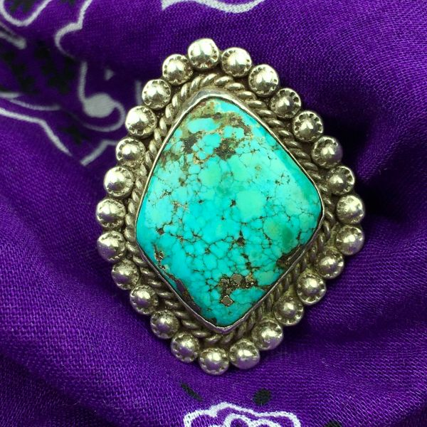 SOLD 1930s HUGE PEYOTE STAMPED INGOT SILVER RING WITH DIAMOND SHAPED WATERWEBBED TURQUOISE WITH PYRITE
