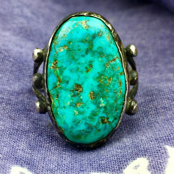 SOLD 1920s INGOT SILVER SPLIT SHANK OVAL BLUE TURQUOISE PINKY RING