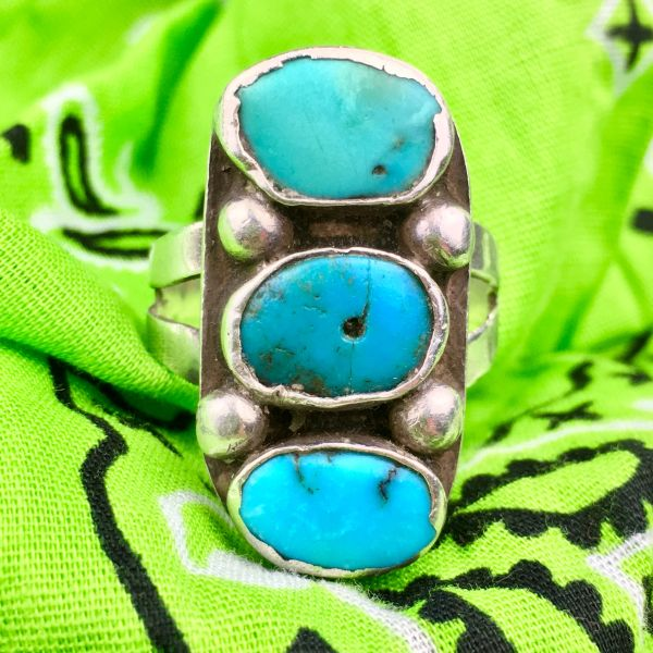 SOLD 1920s INGOT SILVER RING WITH STOPLIGHT SYLE BLUE TURQUOISE & ONE IS AND OLD TAB